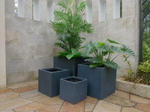 Lightweight Outfoor Fiberglass Cube Garden Planter Pot