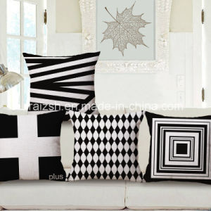 Simple Black and White Geometric Cotton and Linen Pillow Cushion Covers pictures & photos