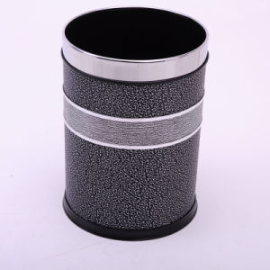 Leather Covered Open Top Silver Cloud Design Dustbin (A12-1903AG)
