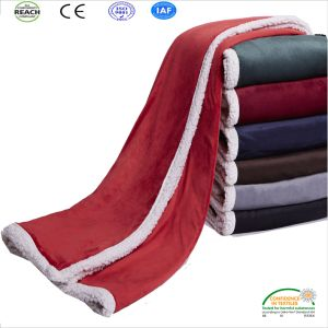 Thick Winter Double Layer Combined Coral Fleece Throw Blanket pictures & photos