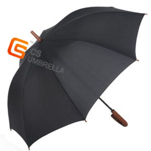 Black Color Wooden J Handle Straight Umbrella for Men (YS-1002A) pictures & photos