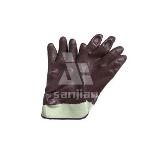 Jersey Lining Liner Open Back Nitrile Chemical Resistant Glove for Russia Ukraine Safety Work pictures & photos