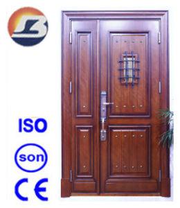 Exterior Son Mother Meranti Solid Wooden Door pictures & photos