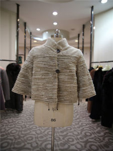Women′s Pure Color Stand Collar Imprinted Short Fur Coat pictures & photos