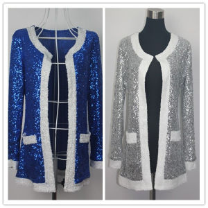 Lady′s Fashion Sequin Jacket in Winter (HGS002)