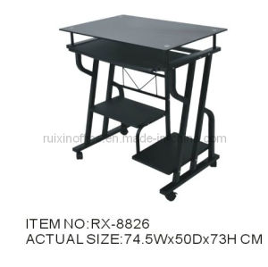 Home Office Furniture Glass Computer Table (RX-8826)