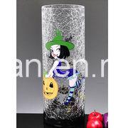Clear Crackle Cylinder Glass Vase (V-012) pictures & photos