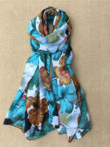 Flower Digital Printed Colorful Long Cotton Lady Scarf pictures & photos