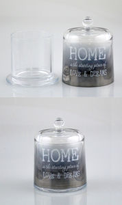 Transparent Glass Candle Holder with a Lid pictures & photos
