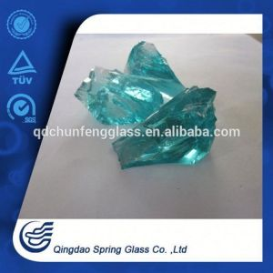 Qingdao Aqua Color Glass Chunks pictures & photos