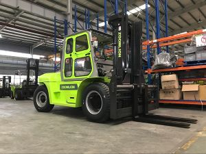 Triplex Mast 6m Height 10 Ton Diesel Forklift with Cabin pictures & photos