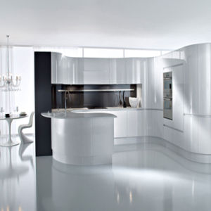 Bck European Style Simple White Arc Gloss MDF Paint Kitchen Cabinet pictures & photos