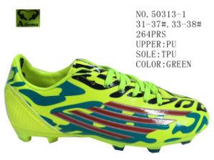 Four Color PU Children Soccer Shoes pictures & photos
