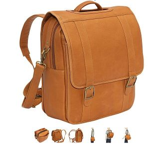 Hot Sell PU Leather Convertible Laptop Backpack