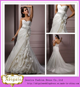Latest Style Full Length a-Line Sweetheart Neckline Beaded Organza Ruched White Wedding Dress 2014 with Detachable Train (LD1000) pictures & photos