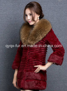 Women′s Three Quarter Sleeve Rabbit Fur Coat with Big Raccoon Fur Collar