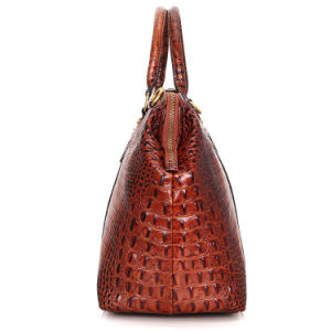 Brown Croc Print Real Leather Duffle Bag for Weekend Traveling pictures & photos