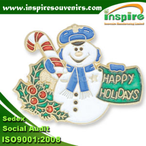 Customized Shiny Silver Plated Oil-Filled Christmas Lapel Pin (B 619) pictures & photos