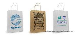 Recycle Twisted Handle Kraft Paper Bag pictures & photos