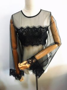 Fashion Sexy See Through Lady Top Flocket Women Garment pictures & photos
