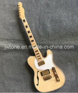 Black Block Inlay Quality F Hole Tele Electric Guitar pictures & photos