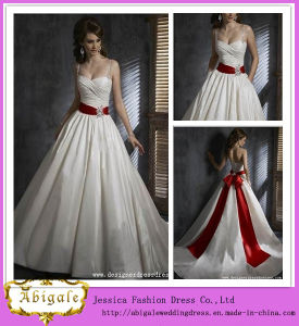 2014 Charming Ball Gown Sweetheart Spaghetti Straps with Beaded Sash Floor Length Red Belt Wedding Dress (hs020)
