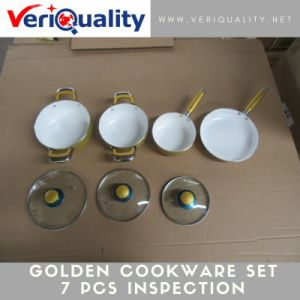 Golden Cookware Set 7 PCS Quality Control Inspection Service at Wuyi, Zhejiang pictures & photos