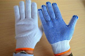 Natrural White One Palm Industrial PVC Dotted Knitted Cotton Work Glove pictures & photos