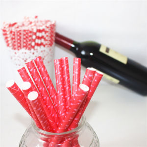 Eco-Friendly Red Pattern Paper Straws for Wedding Party pictures & photos