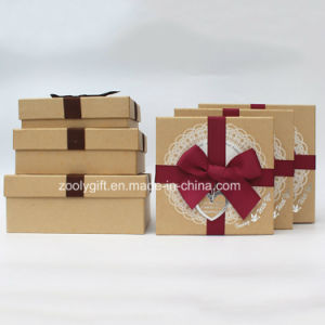 Kraft Paper Gift Square Paper Boxes with Ribbon White Lace Decoration pictures & photos