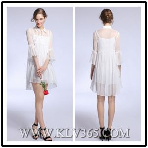 Summer High Waist Pleated Silk Chiffon Dress for Women