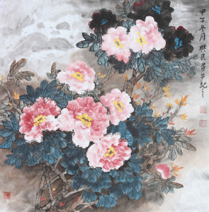 Chinese Peony Flower Oil Painting for Weath and Auspicious on Official Carrer