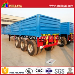 High Flat Bed Flatbed Cargo Box Semi Trailer with Side Wall pictures & photos