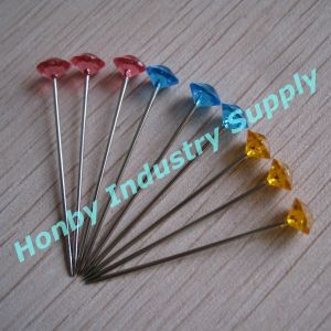 Decorative 38mm Transparent Colored Steel Shaft Florist Pin