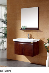 Simple Style Soild Wood Bathroom Cabinet with Ceramic Basin pictures & photos
