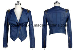 Fashion Punk PU Coat for Lady/Women, Leather Jacket pictures & photos