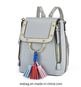 High Quality PU Tassel Women Backpack Zipper Double Shoulder Bag pictures & photos
