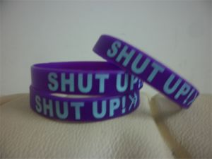 Wholesale Custom Silkscreen Print Text Silicone Wristband for Events P091705