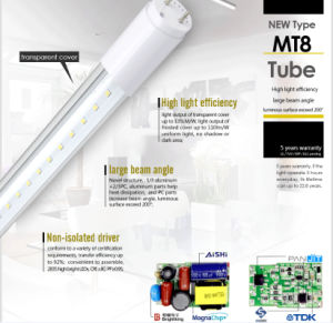 130lm/Watt UL 22W 5ft LED Tube Light T8 150cm Made in China pictures & photos
