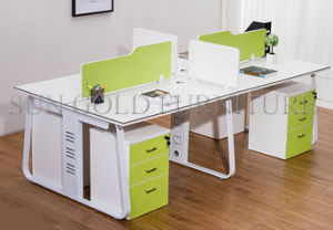 4-Seats Wooden Top and Steel Frame Office Workstation (SZ-WS131) pictures & photos
