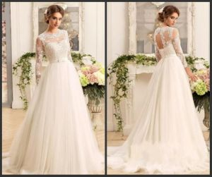 Simple Lace Wedding Dress A-Line Beach Garden Tulle Bridal Wedding Gown 2018 Ld11533 pictures & photos