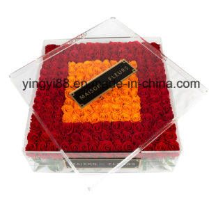 Customized Clear Acrylic Rose Flower Gift Box with Lid pictures & photos