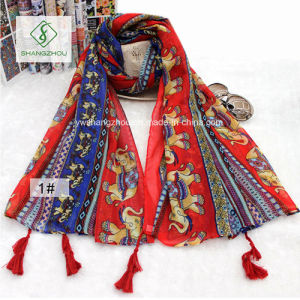 Retro Folk Style Elephant Print Hanging Tassels Cotton Scarf Shawl pictures & photos