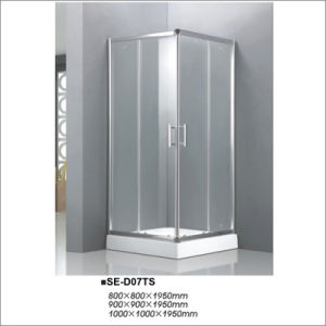 Transparent Glass Sliding-Door Shower Room with Square Tray 1000*1000*1950mm pictures & photos