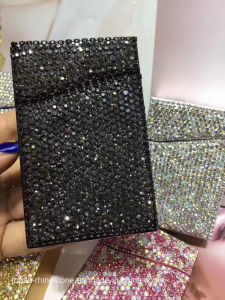 Creative Stainless Steel Business Card Holder Rhinestone Diamond Crystal Rhinestone Paste Card Case (TC-rectangle) pictures & photos