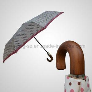 Automatic Open&Close 3 Folding Umbrella Wooden Crook Handle Mini Rain/Sun (JF-AAT301) pictures & photos