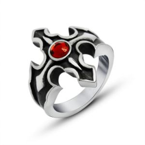 Hell Fire Cross Ring Blood Red Zircon Stainless Jewelry pictures & photos