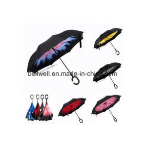 Colorful Portable Handsfree Straight Reverse Inverted Umbrella for Car pictures & photos