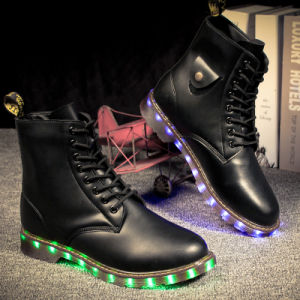 New Product Women and Men Leather Boots with LED Lights pictures & photos