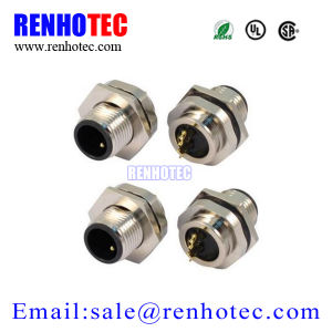 Solder Screw Type M12 2pin Panel Mount Connector pictures & photos
